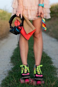#fashion #blog #style #styleblogger #streetstyle #style #moda #inspirational #outfit #ootd #me #candy #lollipop #retro #rollerskates #headphones #cute #colors #girl #skirt #pink #neon #watch #bag