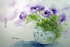 Purple Flowers in Blue Vase Print of Watercolor by RoseAnnHayes, $19.00