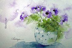 Purple Flowers in Blue Vase Print of Watercolor by RoseAnnHayes, $19.00