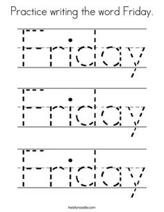 Practice writing the word Friday Coloring Page - Twisty Noodle Pre K Worksheets, Literacy Worksheets, Road Trip Activities, Preschool Activities, Teacher Education, Kids Education, All About Me Poster, Alphabet Writing, Preschools