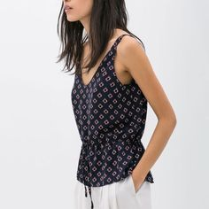 editor's picknautical print top w/tie waist Looks great with white jeans for the summer. Size large, but runs small and would fit a medium well. Tie waste allows you to tighten and make more flattering. Zara Tops Tank Tops