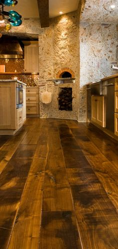 Flooring for bar. Wide Plank Flooring to Give Your Kitchen the Tuscan Style Style At Home, Wide Plank Flooring, Wood Flooring, Kitchen Flooring, Planks, Basement Flooring, Maple Flooring, Amtico Flooring, Penny Flooring