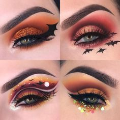 Are you ready for the upcoming Halloween? If you're planning, So come and see our best Halloween makeup photo collection. Halloween Spider Makeup, Halloween Eyeshadow, Halloween Makeup Looks, Halloween Halloween, Vintage Halloween, Halloween Costumes, Bat Makeup, Witch Makeup, Eyeshadow Makeup