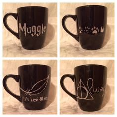 Harry Potter inspired coffee mug set: black