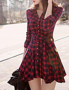 Vestido Casual/DiarioA Cuadros Cuello Camisero Sobre la rodilla Manga Larga Rojo Algodón Otoño Microelástico Medio