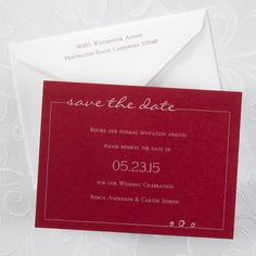 Red, White and Blue Wedding Ideas - Tailored Horizontal - Save the Date Card - Claret | Occasions In Print, LLC (Invitation Link - http://occasionsinprint.carlsoncraft.com/Wedding/Save-the-Dates/NB-NB1763H-Tailored-Horizontal--Save-the-Date-Card--Claret.pro)