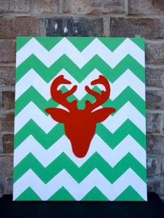 Chevron Reindeer Christmas Canvas Art by whogivesacraft28 on Etsy, | http://christmasdecorstyles187.blogspot.com