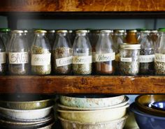 Spice jars These look like juice bottles. Could do the chalkboard labels or something else funky