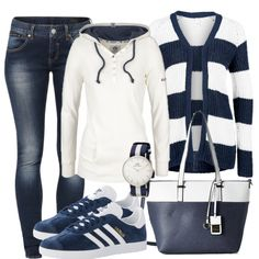 BlueandWhite Outfit - Freizeit Outfits bei FrauenOutfits.de