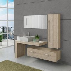 Fall for this set of Scandinavian bathroom furniture ultra complete and modern and enjoy the storage space you need. - Decoration For Home Interior, Bathroom Cabinets Designs, Outdoor Kitchen Design, Scandinavian Bathroom Furniture, Modern Bathroom Design, Bathroom Wall Decor, Bathroom Interior, Bathroom Design Luxury, Bathroom Decor