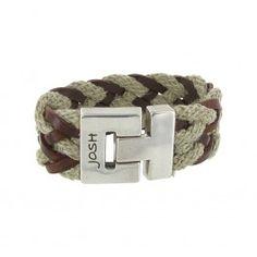 Josh heren armband, leer met touw gevlochten