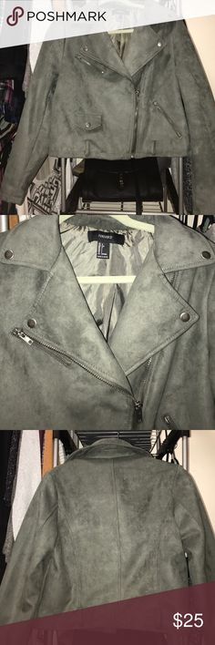 Perfect Condition Olive Green Suede Jacket Never worn, is too big for me! Perfect jacket for going out. Comes with belt, but can be removed as it is in the pictures. Forever 21 Jackets & Coats