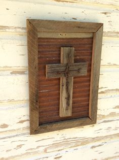 Cross Wall Art~Barnwood Frame With Cross~Metal Wall Art~Rustic Farmhouse Wall Hanging~Primitive Cros Pallet Wall Hangings, Diy Pallet Wall, Diy Pallet Furniture, Best Wood Stain, Wood Stain Colors, Wooden Crosses, Wall Crosses, Diy Wall Art, Framed Wall Art