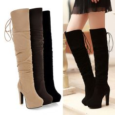 Womens Back Lace Up Winter High Heel Over Knee Boots