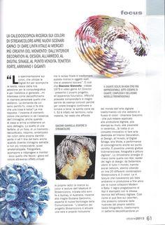 """Sul numero di ottobre 2013 della Rivista Graph del Sole 24Ore un lungo articolo dal titolo """"Il DNA del bello"""" racconta il progetto Streamcolors. Pag. 61 #arte #moda #design #digitale #etro"""