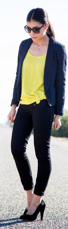 Bright Yellow Comfy Polka Dot Top by Stylishly Me
