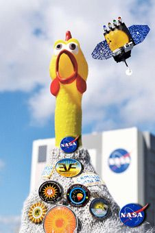 Knitting a sweater for a rubber chicken - a British woman was honored to knit a sweater for Camilla the rubber chicken – the mascot of NASA's Solar Dynamics Observatory. Camilla goes on space missions! Yep a rubber chicken! Felix Baumgartner, Hand Knitting, Knitting Patterns, Rubber Chicken, Funny Images, Aesthetic Wallpapers, Jumper, Sweater, Jelly Beans