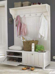 White coat rack/bench combo; mudroom furniture;