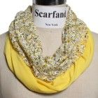 Scarfand's Summer Flower Lace and Solid Color Infinity Scarf (Lace Yellow)
