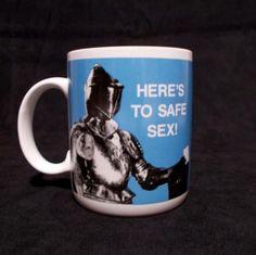 Heres-To-Safe-Sex-Mug-Shoebox-Greetings-Knight-Armor-Coffee-Cup-1988