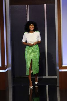 In Case You Missed It: Tracee Ellis Ross On Jimmy Kimmel Live - green and white outfit Tracey Ellis, Chic Outfits, Fashion Outfits, Tracee Ellis Ross, Looks Cool, Mannequins, Dress Me Up, Her Style, Celebrity Style