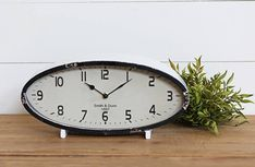 Distressed Metal Oval Table Clock