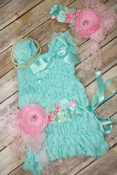 Love this one the best! Great color Combo!  Petti Lace Romper Dress Blue Pink Set With by CuddleBunnyCouture, $29.99 ON SALE