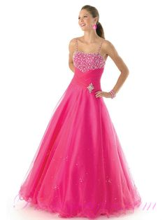 Organza Hot Pink Floor Length Beaded Prom Dress New Arrival