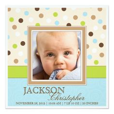 Baby Boy Birth Two Photos in Blue Green Dots Custom Announcements! Make your own invites more personal to celebrate the arrival of a new baby. Just add your photos and words to this great design. Baby Boy Scrapbook, Baby Scrapbook Pages, Simple Scrapbook Ideas, Travel Scrapbook, Baby Boy Birth Announcement, Birth Announcements, Blue Green Nursery, Scrapbook Background, Invitation Paper