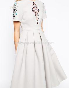 Alibaba China 2015 summer girl dresses, short sleeve knee length skater dress with diamonds
