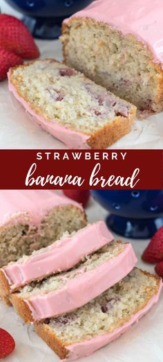 Easy Strawberry Banana Bread - a banana bread made from pancake mix and filled with tons of strawberries and a strawberry glaze on top. Perfect for brunch! # Strawberry Banana Bread - Crazy For Crust Strawberry Banana Bread, Strawberry Recipes, Strawberry Glaze, A Banana, Baking Recipes, Cake Recipes, Dessert Recipes, Dessert Bread, Oven Recipes