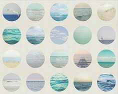 This print features twelve circular ocean scenes in blue tones with a gray background.  To view PRICING select SIZE using drop-down menu. I can print my images in almost any size. If you dont see the size you want please let me know.  SMALL PRINTS (4x4,4x6,5x5,5x7) are available here - www.etsy.com/listing/262524716  UPGRADE your print; - WATERCOLOR PRINT https://www.etsy.com/listing/233578302  READY TO HANG - CANVAS https://www.etsy.com/listing&#x...