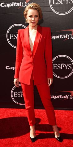 From instyle.com. Rachel McAdams in a red pant suit. More and more women are wearing pant suits on the red carpet. Fashion is beginning to take away the gender aspect and celebs are bringing back the pant suit with a sexier vibe. Jessica NImon