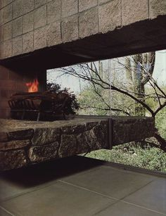 fireplace with glass
