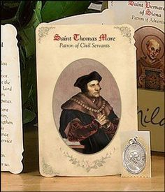St Thomas More (Civil Servants) Holy Card with Medal Refill, Pack of 6: