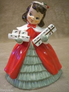 Vintage Napco Christmas Lady Shopping Girl with Gifts Planter Figurine