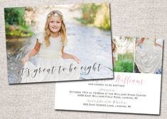 Items similar to Girl LDS Baptism invitation, baptism invite, baptism invitation, photo baptism invitation: PRINTABLE (It's great to be eight ) on Etsy