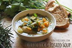 Celtic Leek & Potato Soup infused with Rosemary & Thyme Recipe Soups with leeks, potatoes, sweet potatoes, rosemary, fresh thyme, water, sea salt, olive oil, parsley