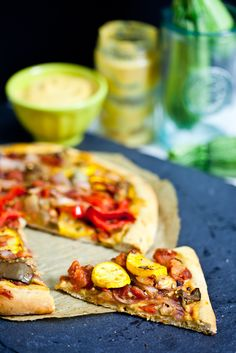 Roasted Ratatouille Pizza with Chickpea Cheese Sauce from Keepin' It Kind #Vegan