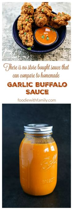 Garlic Buffalo Sauce Recipe because homemade is infinitely better than store bought! Garlic Buffalo Sauce Recipe because homemade is infinitely better than store bought! Chutneys, Chicken Wing Sauces, Chicken Wing Dipping Sauce, Fried Chicken Sauce, Chicken Wings, Buffalo Chicken Sauce, Butter Chicken, Hot Sauce Recipes, Hot Sauce Dip Recipe