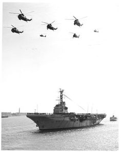 HMS Bulwark (R-08) - 1948, was a Centaur - Class light fleet aricraft carrier. of 22.000 tonne. In 1956, Bulwark took part in her first operation, during the Suez Crisis, she launched up to 600 sorties in what was then known as Operation Musketeer. In 1958 she assisted two tankers that had collided in the Persian Gulf. She towed one of the tankers, SS Melika, to Muscat, winning the Boyd Trophy for her actions.