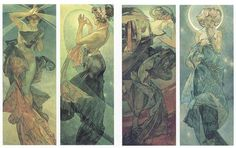 """A series of four panels by Czech Art Nouveau painterAlfons Mucha. From left to right, these are """"Morning Star,"""" """"Polar Star,"""" """"Evening Star,"""" and """"Moonlight."""""""