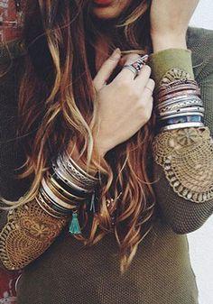 браслеты и кольца в стиле Хиппи