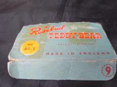 Vintage Walking Teddy Bear by Rosebud in oriiginal box Womans Weekly, Rose Buds, 1950s, Knitting Patterns, Walking, Teddy Bear, Box, How To Make, Vintage