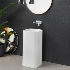 Caroma Moon Freestanding Basin   #basin #caroma #freestanding #bathroom #home #beautiful Bathroom Trends, Modern Bathroom, Bathroom Ideas, Curved Lines, Basins, High Contrast, Bathrooms, Moon, Mirror