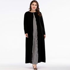 Muslim Dress Islamic Arabic Abayas Long Sleeve Dress Patchwork Striped Dresses for Women Plus Size Maxi, Plus Size Dresses, Elegant Maxi Dress, Pakistani Street Style, Muslim Dress, Curvy Dress, Dress Robes, Fall Dresses, Long Dresses