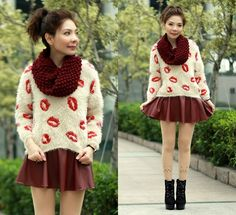 Cat Face Tattoo Stockings, Red Kisses Fluffy Sweater, Maroon Faux Leather Skirt, H&M Maroon Infinity Knit Scarf, Black Suede Lace Up Boots