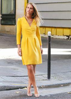 Apoluze | Robe Greta jaune moutarde
