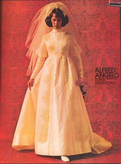 Alfred Angelo Renaissance Romance Collection Styled by Edythe Vincent, August 1973, vintage designer fashion bride ad