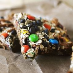 Monster Bars. Graham cracker crumb, M, Reese's, pretzels and more!